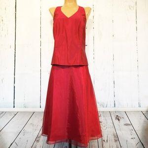 Davids Bridal 16 Apple Red Halter Top & Skirt